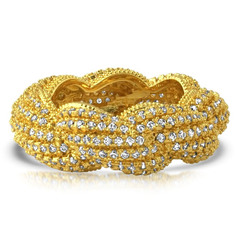 French Rope CZ Eternity Band Hip Hop Ring