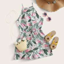 Girls Tie Waist Flamingo & Tropical Print Cami Romper