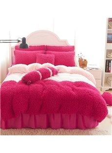 Sweet Color Block Soft Velvet 4-Piece Bedding Set/Duvet Cover