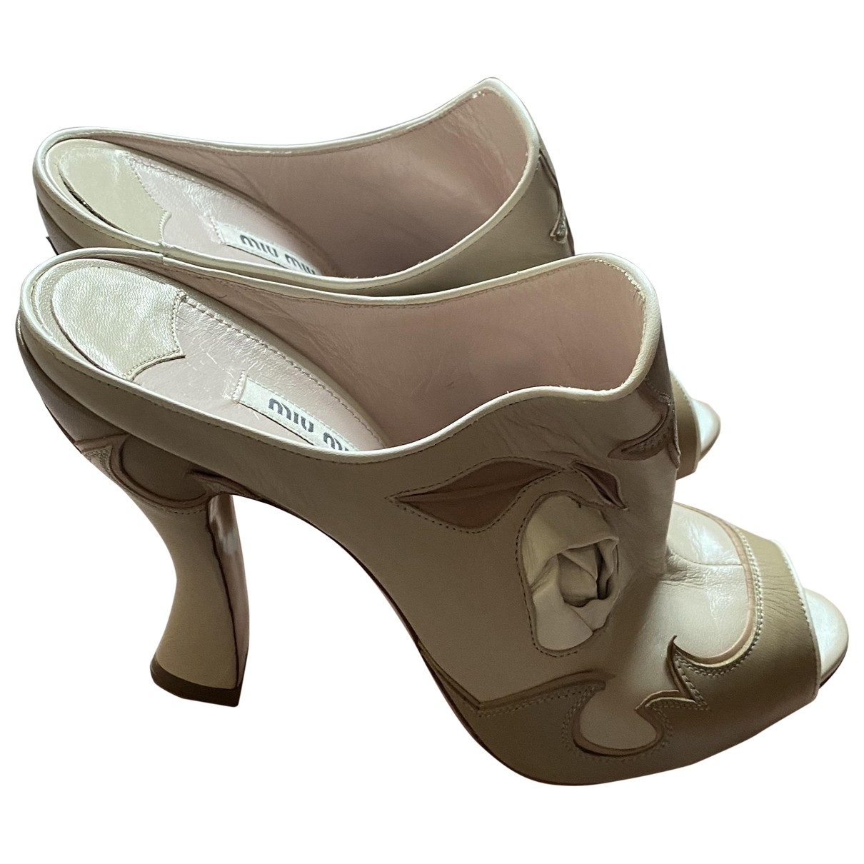 Miu Miu \N Beige Leather Sandals for Women 8 UK