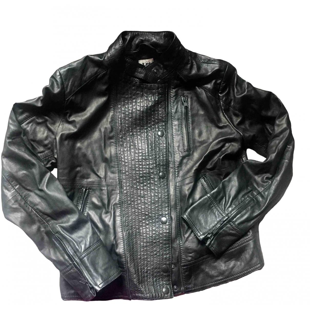 Lee - Veste   pour femme en cuir - noir