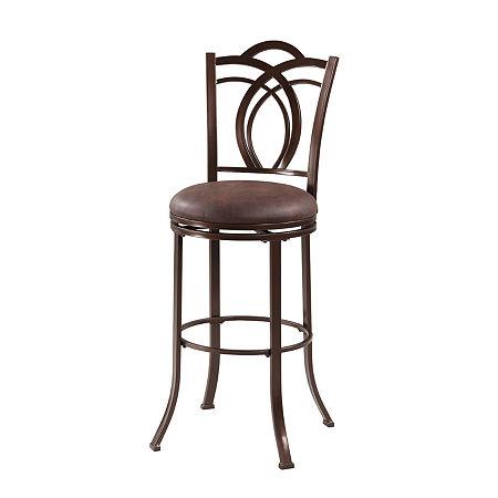 Calif Metal Upholstered Bar Stool, One Size , Black