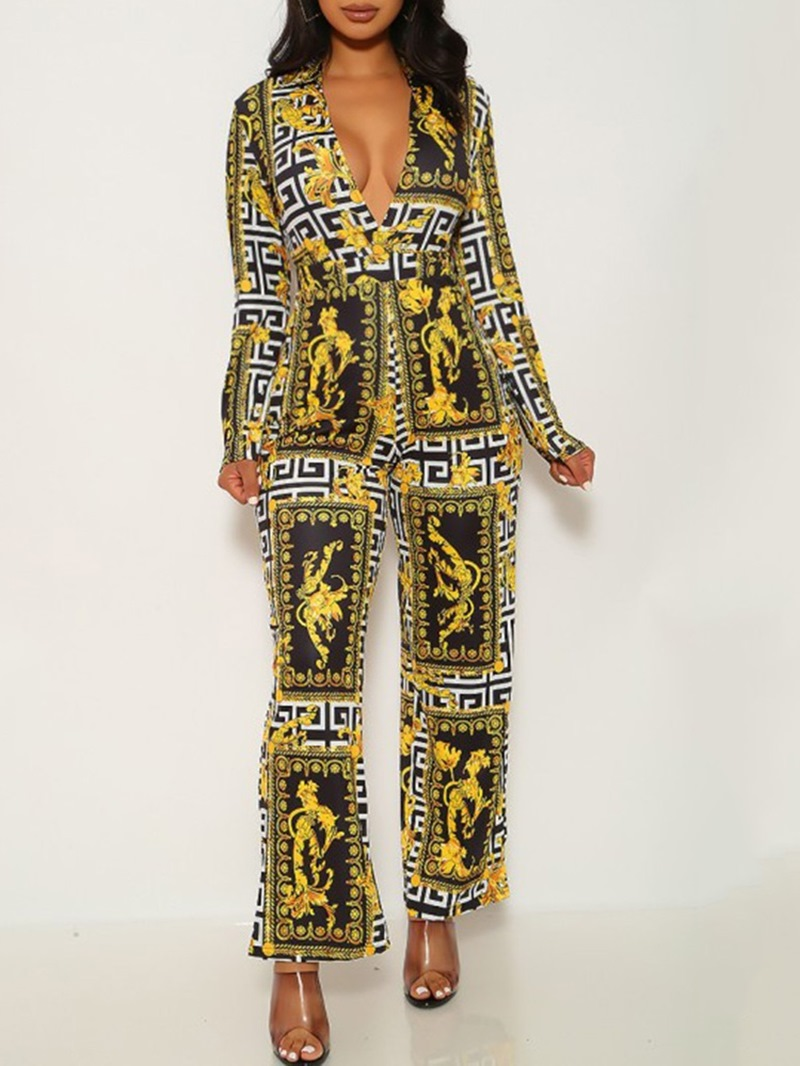 Ericdress Full Length Print Casual High Waist Slim Jumpsuit