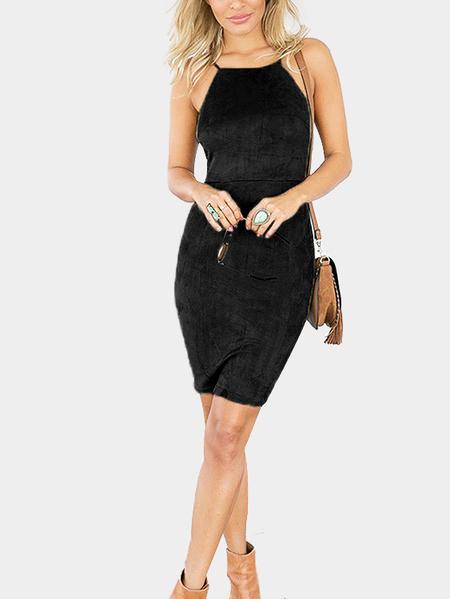 Yoins Black Sexy Lace-up Back Mini Dress