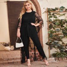 Plus Batwing Sleeve Embroidery Mesh Detail Belted Jumpsuit
