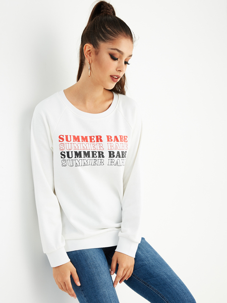 Yoins White Letter Round Neck Long Sleeves Casual Sweatshirt