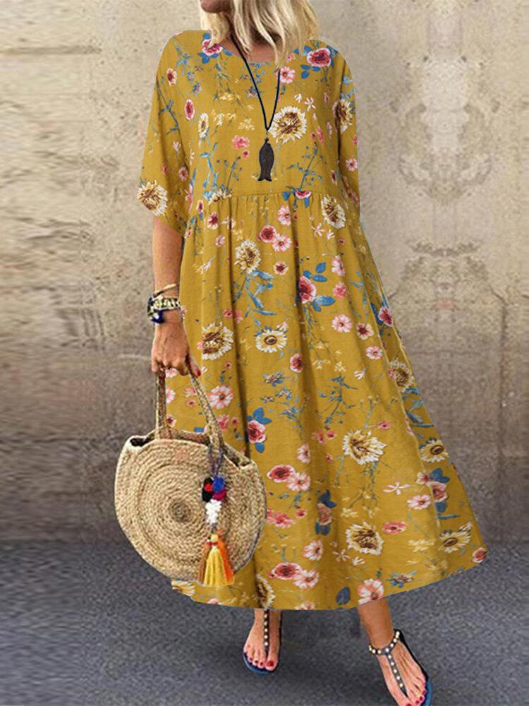 Floral Print Empire Waist Plus Size A-line Dress