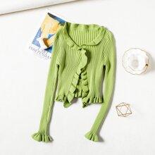 Solid Lettuce Trim Knit Cardigan