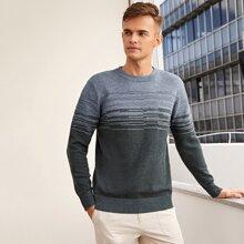 Pullover mit Farbblock, Streifen und rundem Kragen