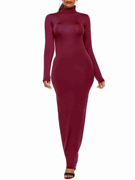 Milanoo Vestido largo Amarillo Moda Mujer Color liso con manga larga Vestidos de algodon mezclado con escote alto Primavera Otoño estilo street wear