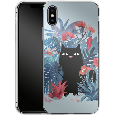 Apple iPhone X Silikon Handyhuelle - Popoki Blue von Little Clyde