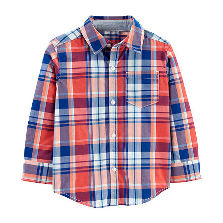 Carter's Toddler Boys Long Sleeve Button-Down Shirt, 4t , Red
