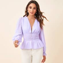 Plunging Neck Button Front Peplum Top