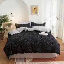 Set de cama con patron de galaxia sin relleno