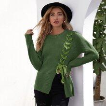 Lace Up Knot Slit Hem Sweater