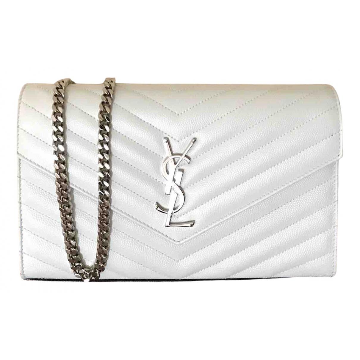 Saint Laurent - Pochette Portefeuille enveloppe pour femme en cuir - blanc