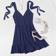 Ruffle Hem Knotted Cami Dress
