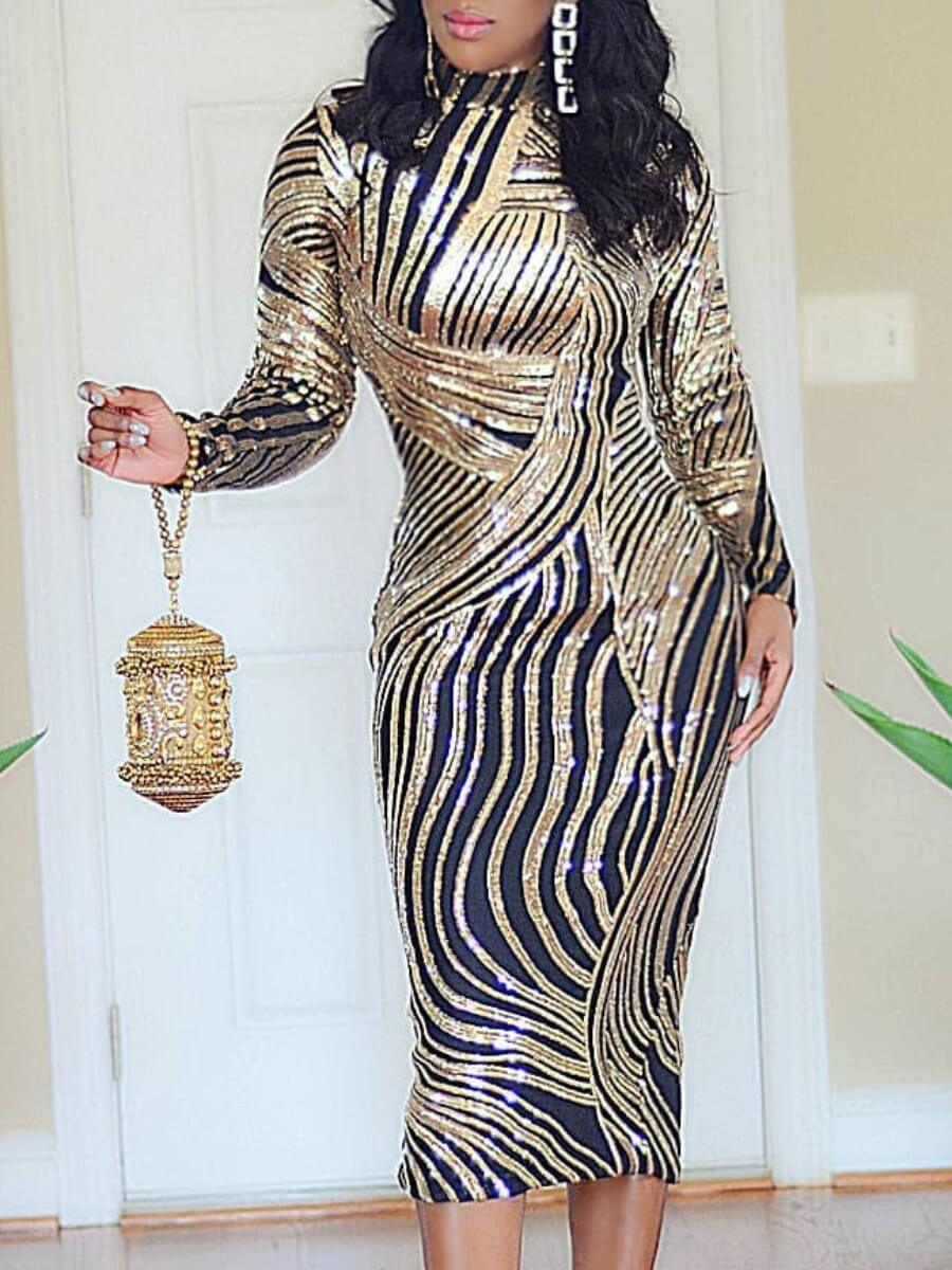 LW Lovely Trendy Half A Turtleneck Sequined Gold Mid Calf Dress