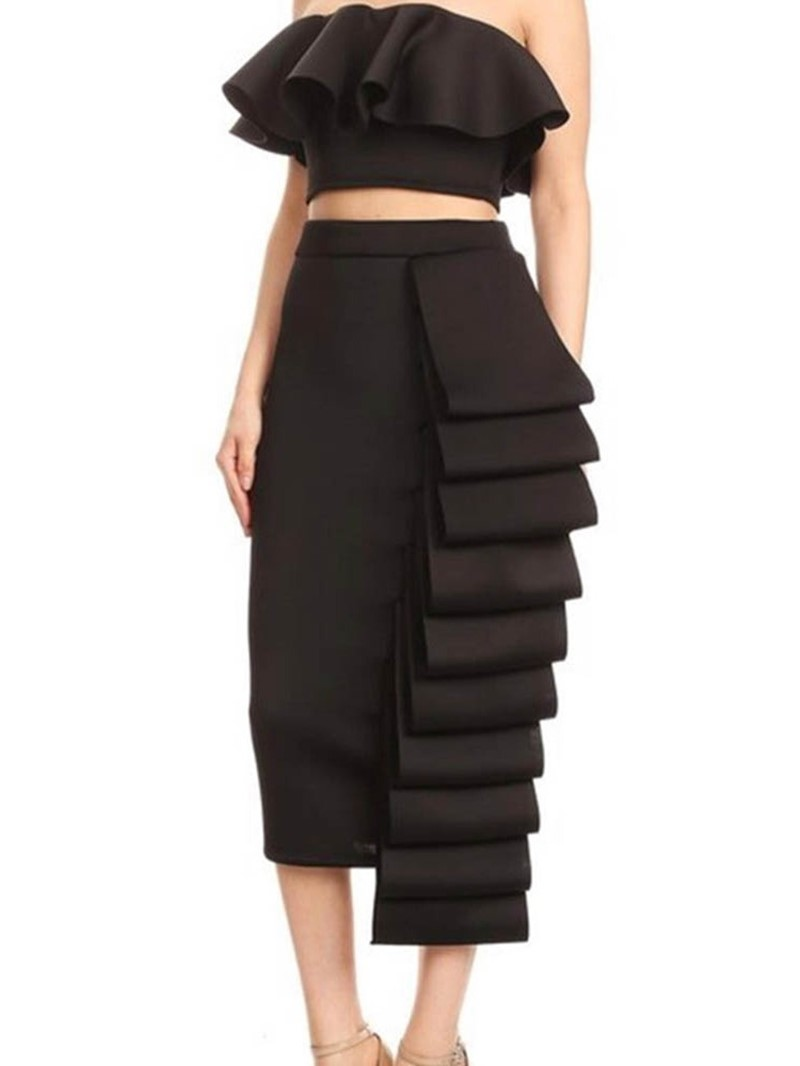 Ericdress Falbala Patchwork Elegant Plain Vest And Skirt Two Piece Sets