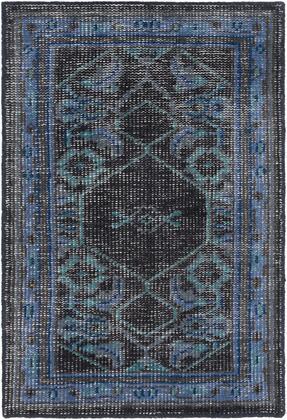 Zahra ZHA-4033 2' x 3' Rectangle Traditional Rugs in Navy  Dark Blue  Dark Brown  Teal
