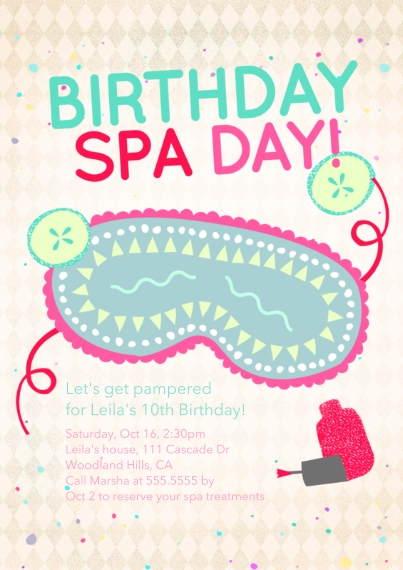 Kids Birthday Party Invites 5x7 Cards, Premium Cardstock 120lb with Scalloped Corners, Card & Stationery -Birthday Spa