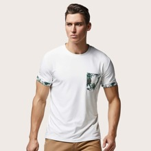 Maenner T-Shirt mit Ananas Muster und rundem Kragen