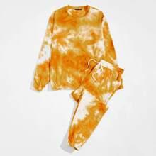 Pullover mit Batik & Jogginghose Set mit schraegen Taschen