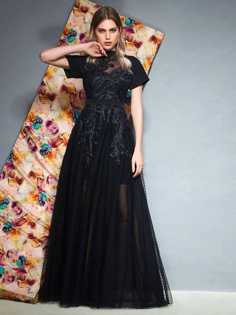 Ericdress Short Sleeve High Neck Black Prom Dress