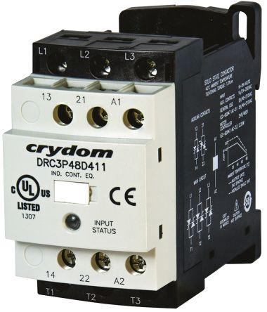 Sensata / Crydom Solid State Contactor, 3P, 24 V ac/dc, 7.6A , DIN Rail Mount, Screw Terminal Type