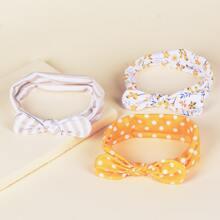 3 Stuecke Baby Kopfband mit Punkten Muster