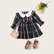 Baby Maedchen Kleid mit Peter Pan Kragen und Karo Muster ohne Tasche