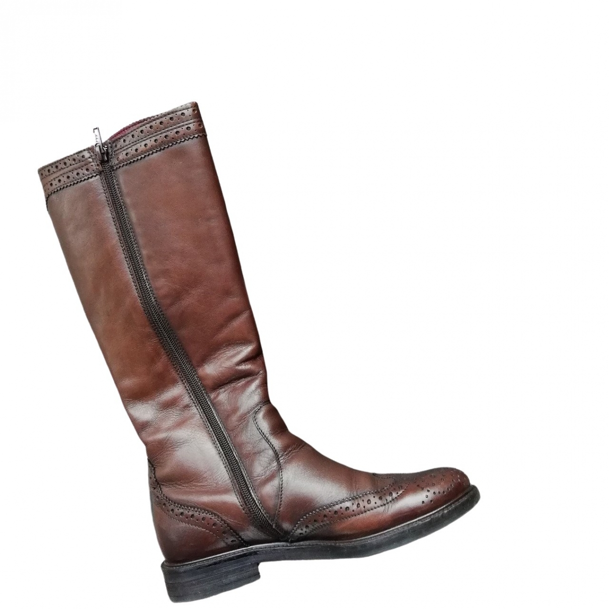 Non Signé / Unsigned \N Brown Leather Boots for Women 36 EU