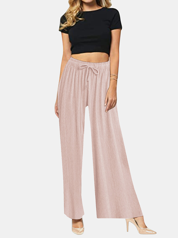 Solid Color Long Sleeve Elastic Wasit Wide Leg Pants