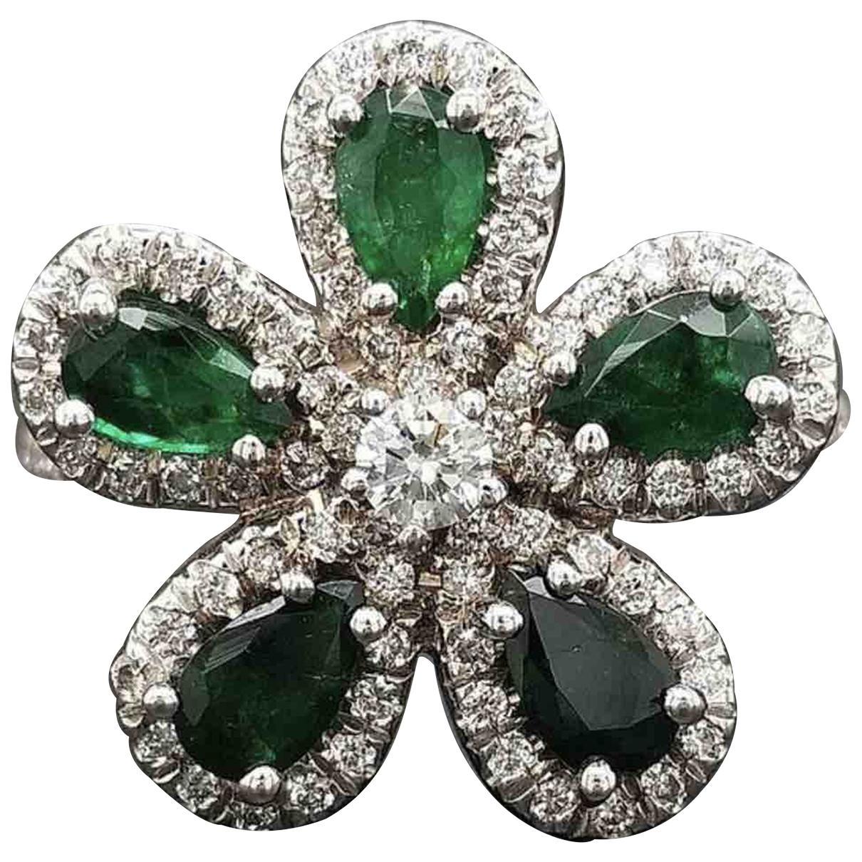 - Bague Motifs Floraux pour femme en or blanc - vert