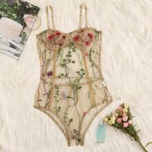 Floral Embroidery Mesh Underwire Teddy Bodysuit