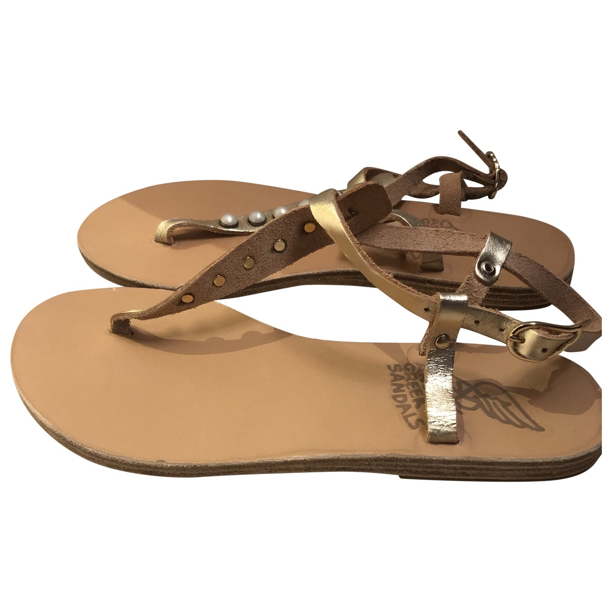 Ancient Greek Sandals \N Gold Leather Sandals for Women 36 EU