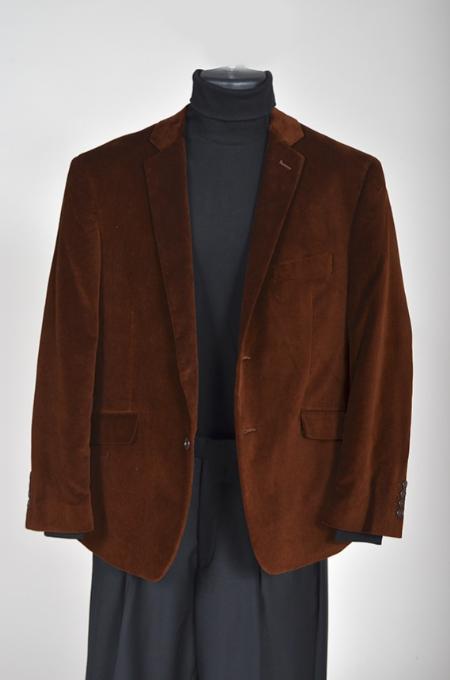 Mens Velvet Sport Coat Brown