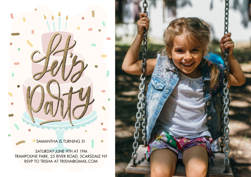 Kids Birthday Party 5x7 Cards, Premium Cardstock 120lb with Elegant Corners, Card & Stationery -Birthday Party Let's Party Cake by Tumbalina