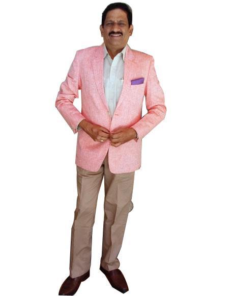 Alberto Nardoni Mens Pink Color Summer Linen Blazer Sport Coat Jacket