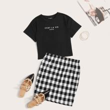 Slogan Graphic Tee & Gingham Skirt Set