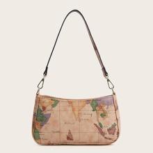 Bolsa baguette con estampado de mapa