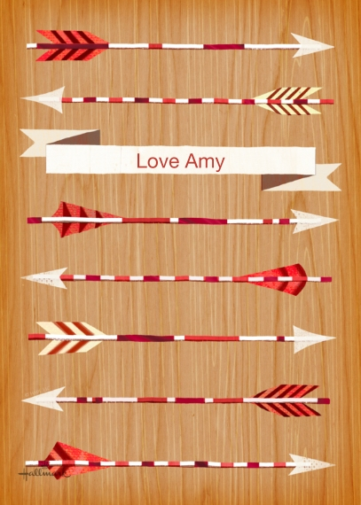 Valentine's Cards 5x7 Folded Cards, Standard Cardstock 85lb, Card & Stationery -Rows of Arrows