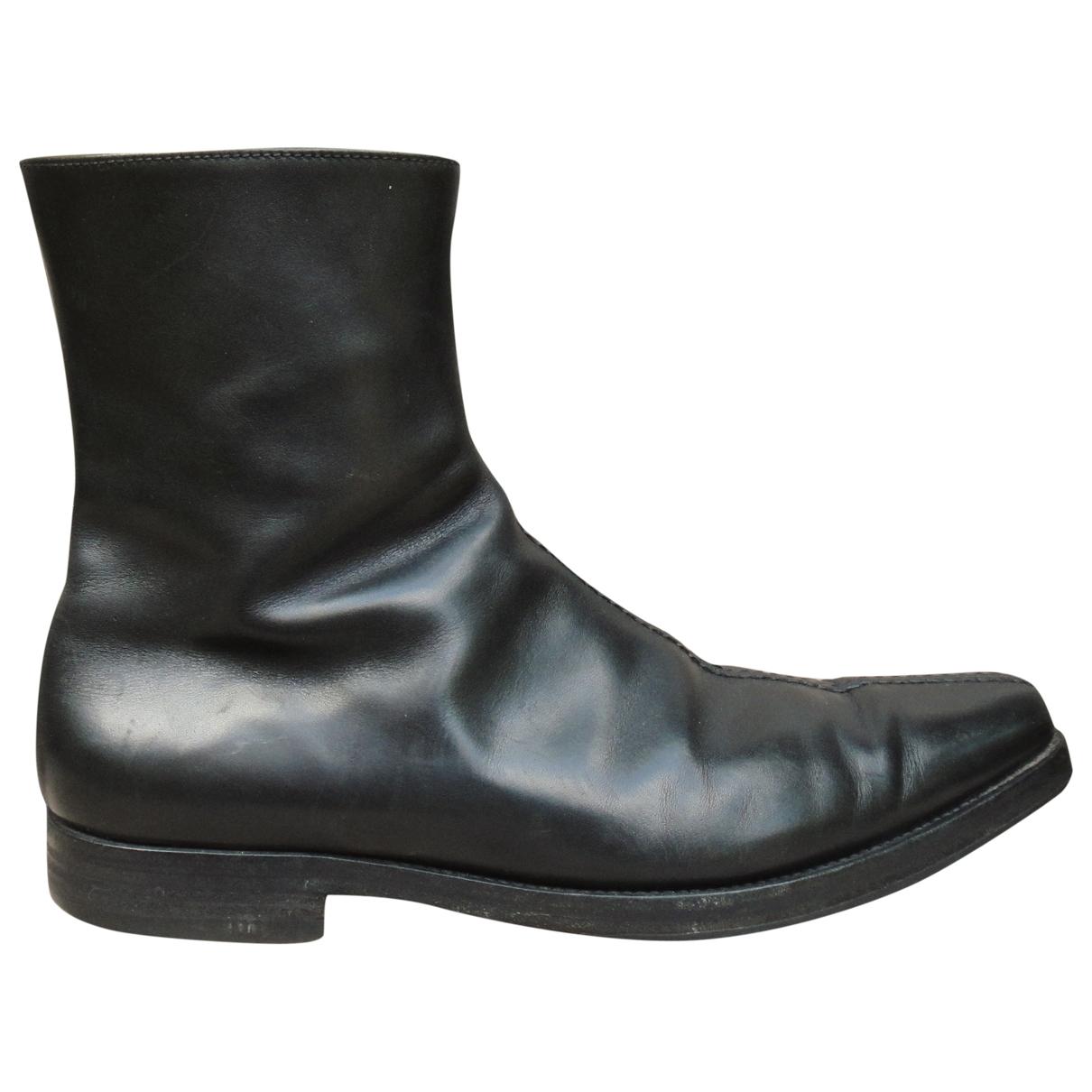 Prada \N Stiefel in  Schwarz Leder