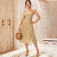 Striped Split Thigh Cami Dress