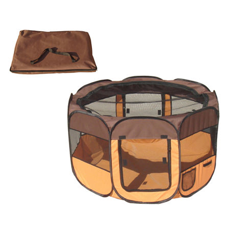 The Pet Life All-Terrain' Lightweight Easy FoldingWire-Framed Collapsible Travel Pet Playpen, One Size , Brown