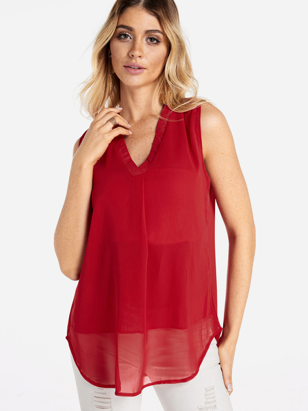 Yoins Red Tiered See Through Design Plain V-neck Curve Hem Tank Top