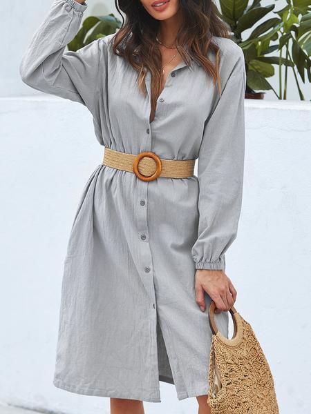 Yoins ZANZEA Button Design Turn Down Collar Long Sleeves Dress