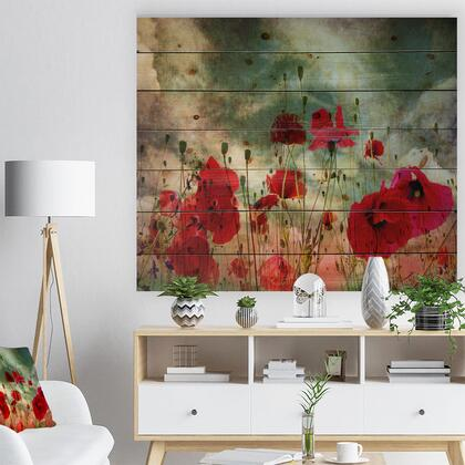 WD12986-40-30 Wild Red Poppy Flowers In Sky - Floral Print On Natural Pine Wood -
