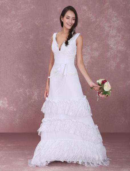 Milanoo White Chiffon Lace V-Neck Wedding Dress