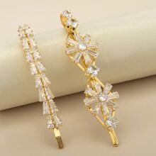 2 piezas horquilla grabada con diamante de imitacion